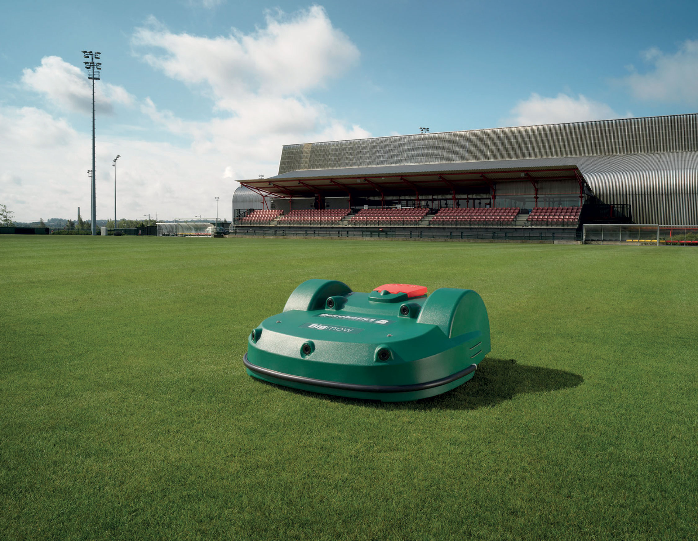 Football ground, mown by a Bigmow mower
